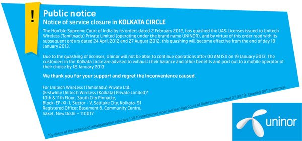 Uninor Public notice on closure for Kolkata and West Bengal subscribers