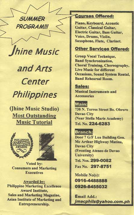 Jhine Music and Arts center Philippines: COURSES OFFERED: piano, keyboard, acoustic guitar, classical guitar, electric guitar, drums, violiun, voice, flute