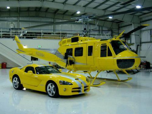 Dodge Viper Coupe with matching helicopter
