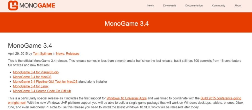 MonoGame 3-4 release