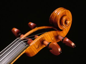 Violin scroll by David Finck