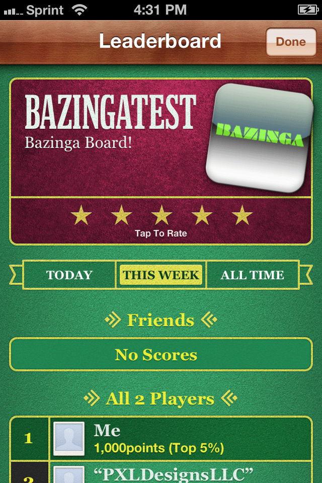 Bazinga Leader Board - Apple Game Center