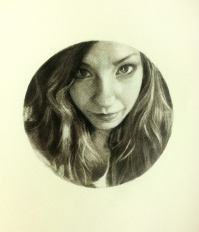 Passion's Dare, Charcoal and Pastel on Paper, 5″ in diameter, NFS