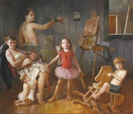"Stephen Cefalo, The Kids (Family Portrait) Oil on linen 78""x84"""