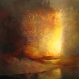 """""""Threshold"""" Oil, Metal Leaf on Panel 48"""" x 48"""" Copyright 2011 by Steven DaLuz"""