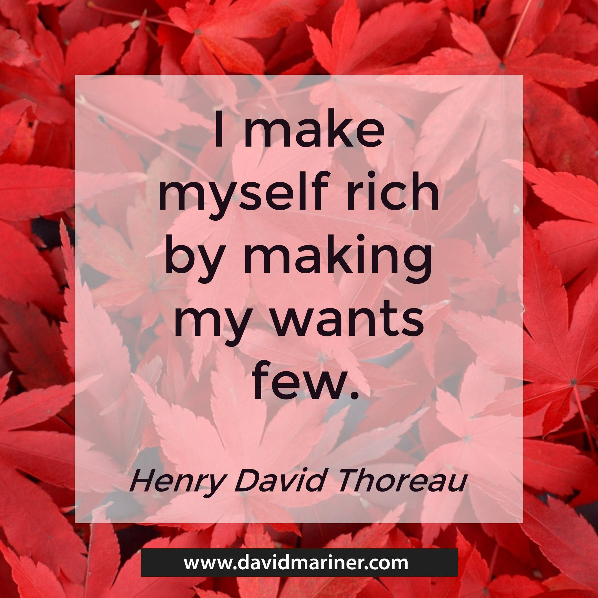 I make myself rich by making my wants few. - Henry David Thoreau