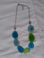 Blue and green necklace by Jane & Michael Lewis