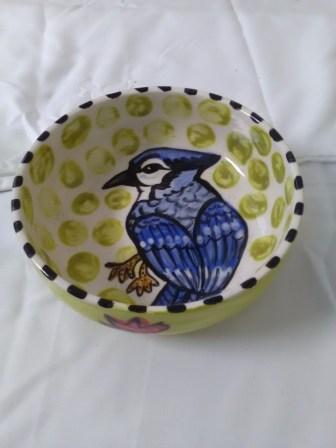Blue jay bowl by Toni & Jay Mann