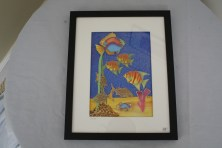 $85 VALUE - 2D wallpiece of fish in the sea by artist Michael Lewis