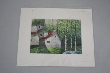 $20 VALUE - Matted print of house and trees by artist Man-Wai Wu