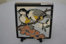 $68 VALUE - Birds on a branch ceramic tile with easel by artist Nawal Motawi