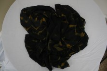 $55 VALUE - Black and gold chiffon scarf with abstract print by artist Kate Beck