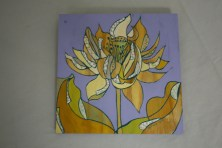 $35 VALUE - Flower collage painting on purple plywood background by artist Michelle Prahler