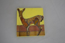 $55 VALUE - Collage deer painting on yellow plywood background by artist Michelle Prahler