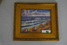 $200 VALUE - framed beach pastel painting by artist Mary Jane Erard
