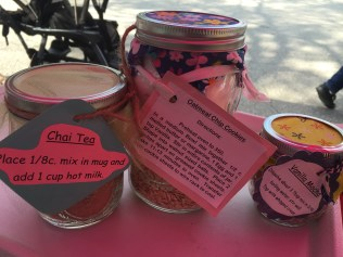 #35 VALUE - Gift basket of mason jar mixes including: chai, mocha, and cookie mix. Includes two mugs from Cakepops by Dawne