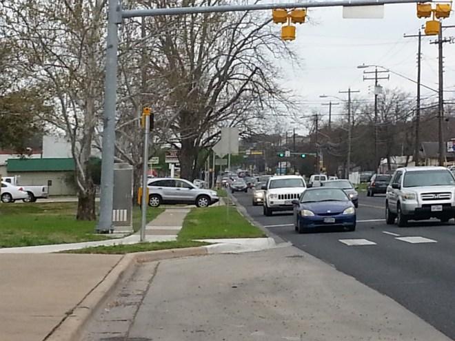 Sidewalk & pedestrian beacon on S. 1st