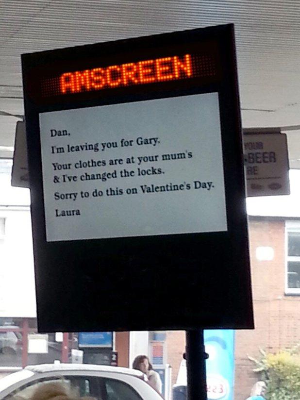 Woman dumps boyfriend billboard