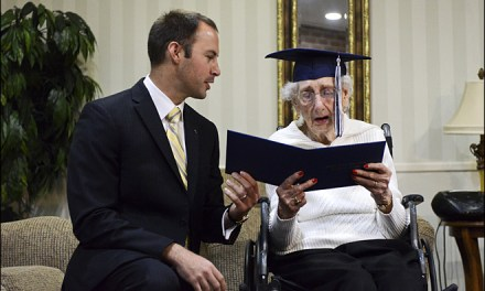 97 year old receives diploma after a long 80 yers
