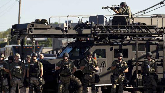 Militarized Police do not technically count as military. But there is no doubt that Ferguson was already unofficially under martial law.