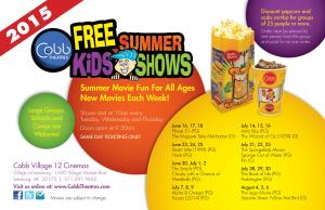 FREE Kids Summer Shows 2015 @ Cobb Village 12 Cinemas | Leesburg | Virginia | United States