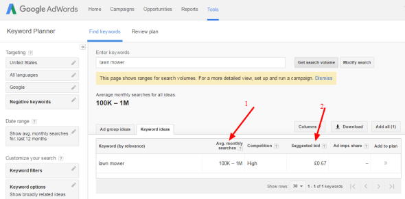 2Keyword Planner – Google AdWords