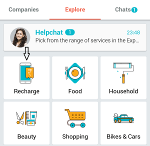 helpchat dashboard recharge 100 cashback