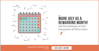 Freecharge - Get Flat Rs 50 Cashback on recharge or bill payment of Rs 50 or more (New Users)