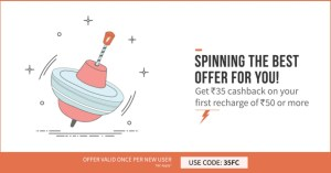 Freecharge- Get flat Rs 35 cashback on your first recharge of Rs 50 (New Users)
