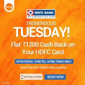 Goibibo Get Rs 1200 cb via HDFC Cards - Tricksntricky