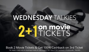 Paytm– Buy 3 movie tickets and get 100% cashback (Max Rs 150) on one ticket