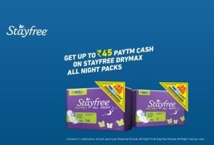 Paytm Get upto Rs 45 Paytm cash on Stayfree Pads - Tricksntricky