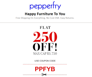 pepperfry get Rs 250 off on order of Rs 750 or more