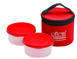 Snapdeal - Buy Ruchi Housewares White and Red Polypropylene Tiffin - Set of 2 at Rs 99 only