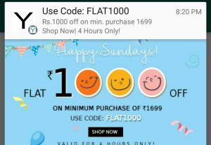 Yepme – Get Flat Rs 1000 Off on Purchase of Rs 1699 or More