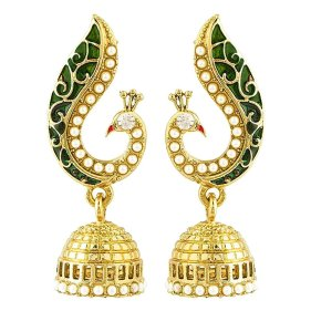 amazon-buy-peora-donna-peacock-jhumkis-for-girls-women-green-at-rs-179-only