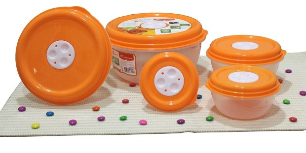 Amazon – Buy Princeware Fresh Ven Bowl Package Container Set, 5-Pieces, Orange for just Rs.121