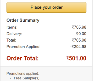 amazon pantry get free samples on Rs 500 or more