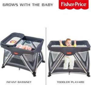 Snapdeal - Buy Fisher Price Grey Trance Portable Baby Cot at Rs 12,655 only (SBI Credit Card only)