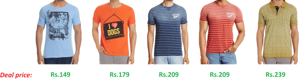 Amazon - Flat 70% off on Mens Tshirts