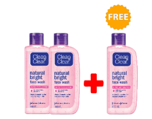Clean & Clear Natural Bright Face Wash (Buy 2 Get 1 Free)