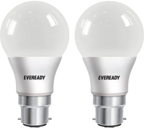 Eveready Base B22D 8-Watt LED Bulb (Pack of 2, Cool Day Light) Rs 199 only amazon GIF 2017
