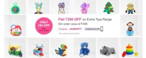 FirstCry App - Get  Rs. 200 Flat Discount on Purchase worth Rs.499 from Toys & Gaming Range