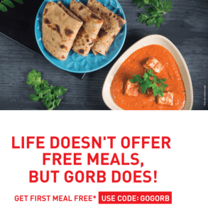 gorb.in get a free meal of upto Rs 130 Mumbai