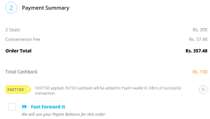 paytm Rs 150 cashback on 2 movie tickets proof