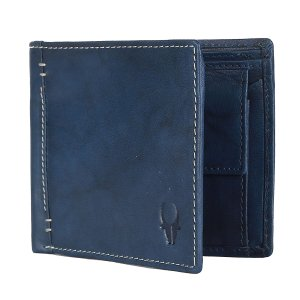 Amazon - Buy WildHorn Washed Blue Antique Soft Genuine Leather Wallet at Rs 199 only