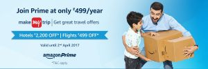 Amazon - Get a Makemytrip Rs 2200 Gift Voucher on Amazon Prime subscription of Rs 499