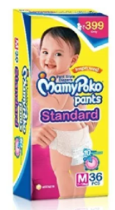 Mamy Poko Pants Standard Pant Style Medium Size Diapers (36 Count)