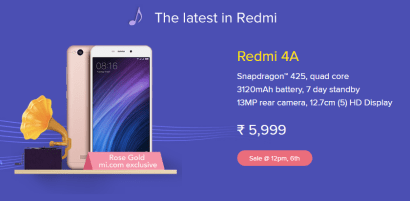 mi fan festival redmi 4a rose gold