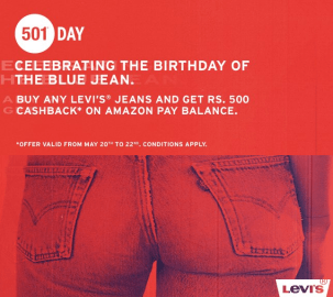 (Suggestions added) Amazon – Flat Rs.500 cashback and up to 60% off on LEVI'S Jeans.